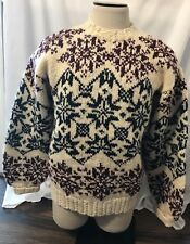 Hand Knitted Snowflake Nordic Tribal Club Room Pure 100% Wool Heavy Sweater Sz L