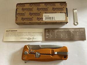 Lionsteel SR-11 Orange Aluminum Integral Flipper - Satin Blade - SR11A-OS