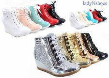 f638fff532f8 NEW Glitter Sneaker Women s High Top Lace Up Wedge Booties Shoes Size 5.5 -  10