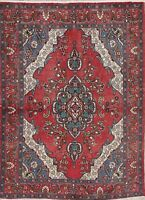 """Vintage Geometric RED Persian Area Rug Oriental Hand-Knotted Wool 6' 5"""" x 4' 8"""""""