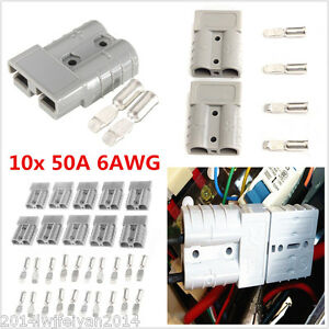 10 Kits Autos Battery Quick Connector Kit 50A 6AWG Plug Connect Disconnect Winch