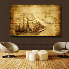 Home decor Ancient nautical map Poster Print on canvas(24inx36in)