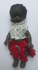 Vintage 1970's Ethnic Black Rubber Doll with Open Eyes, Red Lips and Moving Head