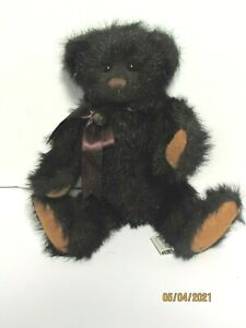 """Ganz Cottage Collectible Brown Plush Bear Jointed 14"""" Lc Ribbon Bell Stuffed Toy"""