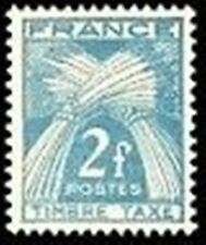 "FRANCE STAMP TIMBRE TAXE N° 82 "" TYPE GERBES 2F BLEU-VERT"" NEUF x TB"
