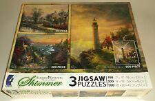 Thomas Kinkade Shimmer Jigsaw Puzzles Guiding Light Lighthouse Lamplight Lane