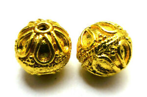 10 PCS 10MM SOLID COPPER BALI BEAD 18K GOLD PLATED 736