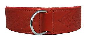 Red Celtic Leather Dog Collar Staffy Staffordshire Bull Terrier Bulldog 6 Sises