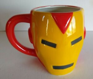 Marvel Iron Man Shaped Coffee Cup 3-D Mug Red & Yellow Ceramic