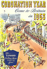 Art Ad Cunard  Coronation Year  1953 Come to Britain Travel  Deco  Poster Print