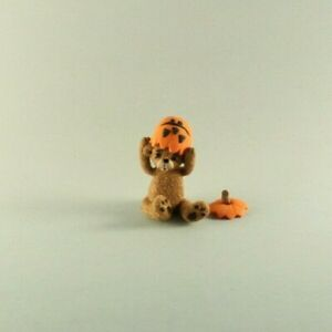 OOAK~Brown Bear~Jack-o-lantern~Mini~Artist Doll~Baby Toy~Dollhouse~Cheryl Brown