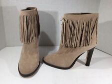 JOIE Womens Sz 6 EU 37.5 Tan Suede Fringe Booties Ankle Boots Shoes DS-39