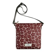 Brand New Earth Squared Red Flower Oil Cloth Messenger Bag FREE UK SHIPPING