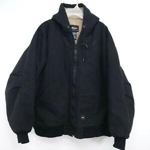 Walls Mens Black Duck Canvas Fleece Lined Workwear Hooded Jacket Coat Size 2XL