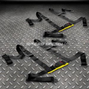 "PAIR UNIVERSAL 4-PT 2"" STRAP DRIFT RACING SAFETY SEAT BELT BUCKLE HARNESS BLACK"