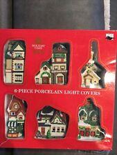 Holiday Time Porcelain Miniature Light House Covers 6 Pieces Christmas Decor