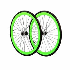 Fixie 700c Deep 45 mm Fixed  Front & Rear Wheels set  w Tire Tube Neon Green