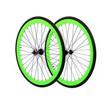 Fixie 700c Deep 45 mmFixed  Front & Rear Wheels set w Tire Tube Neon Green