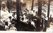 RPPC Antq Young Men & Women In Picnic Lake/River Real Photo Postcard cir 1920's