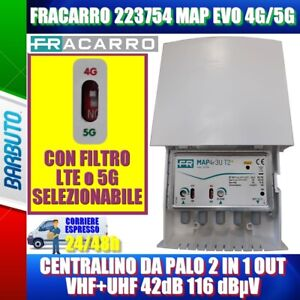 FRACARRO 223754 MAP EVO 4G/5G CENTRALINO DA PALO 2 IN 1 OUT VHF+UHF 42dB