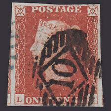 B1 GB QV 1841 1d RED-BROWN (SG8) FU 4 MARGINS LONDON NO.10 + PARTIAL BLUE CANCEL