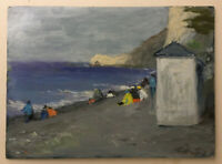 FRENCH IMPRESSIONISM Antique Oil painting Seascape Beach in Etretat Normandy