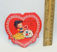 Vintage unused 1930s-1940s I'm Banking On You Valentine's Day A-Meri-Card