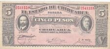 1915 Mexico El Estado de Chihuahua Revolutionary 5 Pesos Note, Series M, PS532A