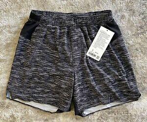 "NWT Men's Lululemon Designer 6"" Surge Short Liner Black Gray Size Medium M"