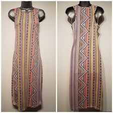 Size 12 Dress GLAMOROUS Pink Yellow Grey Fitted Stretch Bodycon Women's Casual