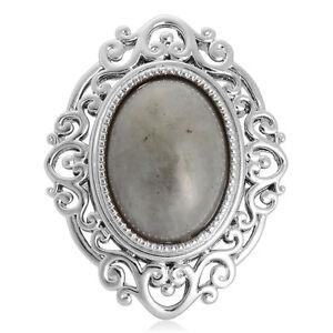 Labradorite (Ovl) Ring in Silver Tone 11.000 Ct.,size 18