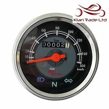 Speedometer Royal Enfield 0-160 KPH Black Grey Dial Face Speedo Motorbike Gift