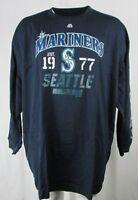 Seattle Mariners Men's Blue Majestic Long Sleeve Screen Print T-Shirt MLB 6XL