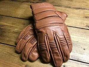 Brown leather retro style motorcycle biker gloves (end of line sale)