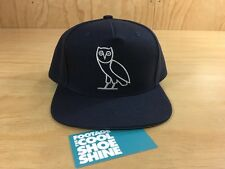 October's Very Own OVO Owl Logo Snapback Hat  Navy Blue Silver Drake NEW