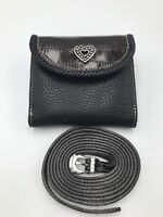 BRIGHTON NWT BLACK AND BROWN LEATHER WALLET WITH DETACHABLE LONG STRAP