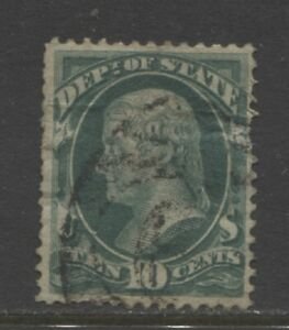 1873 United States 10 cents State Department Scott: O62  used