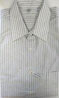 Macys Geoffrey Beene Black White Striped Wrinkle Free Cotton Blend Dress Shirt