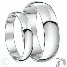 New His & Hers Palladium 4 & 6mm D Shaped Wedding Rings