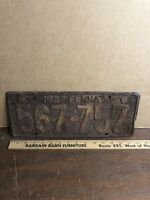 Vintage Antique 1927 Pennsylvania PA License Plate Tag Penna