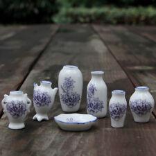 1/12 Dollhouse Ceramic Miniatures China Porcelain Vase Blue Vine 7pcs