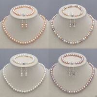 7-8mm/8-9mm Real Natural Freshwater Pearl Necklace Bracelet Earrings Set