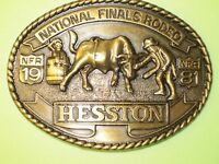 National Finals Rodeo Hesston 1981 NFR Adult Cowboy Buckle, New, Vintage