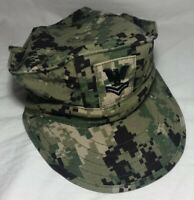 US Navy USN Type III Digital Woodland Utility 8 Point Cap Hat Size 7 1/8 AOR2
