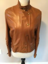 EUC CELINE Caramel Brown Leather Moto Bomber Jacket SZ FR 44 US 10-12