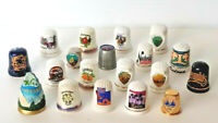 Lot of 19 Thimbles U.S. STATES - Tourism Places Porcelain Metal Vintage Thimble