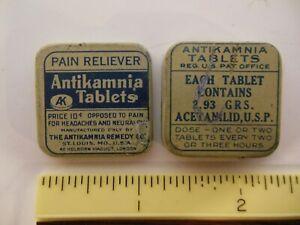 SCARCE ANTIKAMNIA TABLETS QUACK MEDICINE TIN, GREAT USED CONDITION