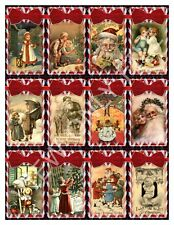 12 Christmas Candy Cane Victorian Vintage Hang Tags Scrapbooking (13)
