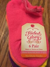 Socks For Girl, 6 Pair, Faded Glory, Shoe Size 4-7 1/2