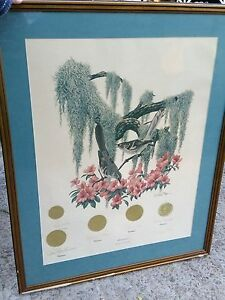 "EXC SIGNED Framed Richard Sloan ""Mockingbird"" State Series Colored Lithograph"